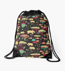 Night Time Rhino Adventure Drawstring Bag