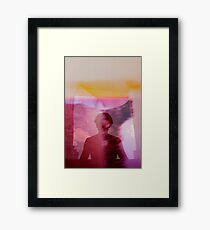 Portrait woman fantasy analog film double exposure Framed Print