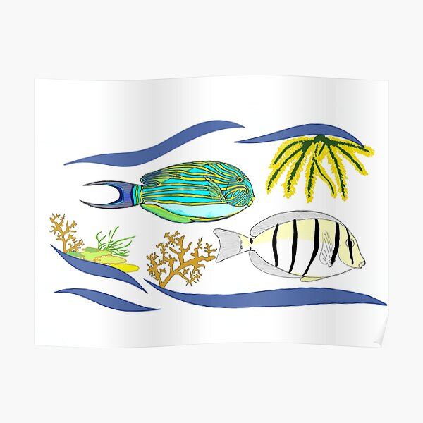 Surgeonfish in Coral Reef Poster