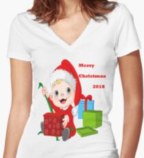 Merry Christmas 2018 Women's Fitted V-Neck T-Shirt