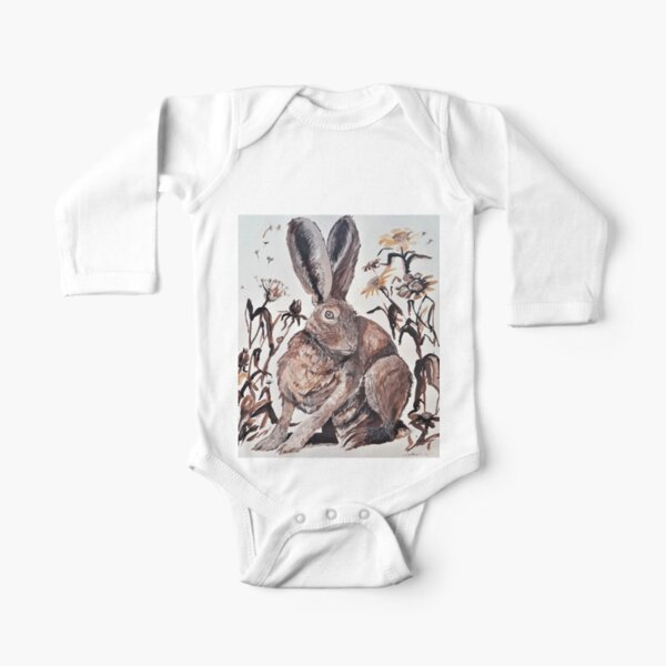 March Hare with Dandelions Long Sleeve Baby One-Piece