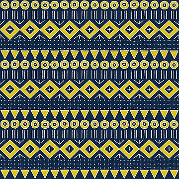 Mudcloth Style 2 in Navy Blue and Yellow by MelFischer