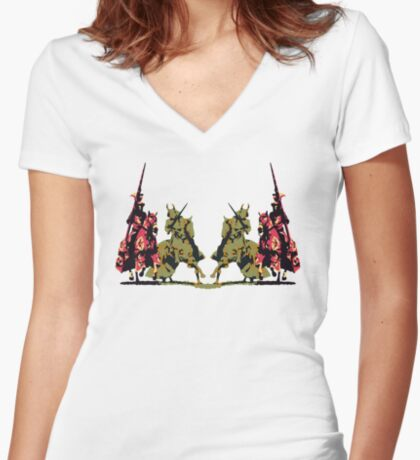 four noble knights on horseback with lance and sword Women's Fitted V-Neck T-Shirt
