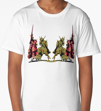 four noble knights on horseback with lance and sword Long T-Shirt