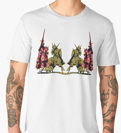 four noble knights on horseback with lance and sword Men's Premium T-Shirt