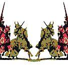 vier edle Ritter hoch zu Ross mit Lanze und Schwert von cglightNing