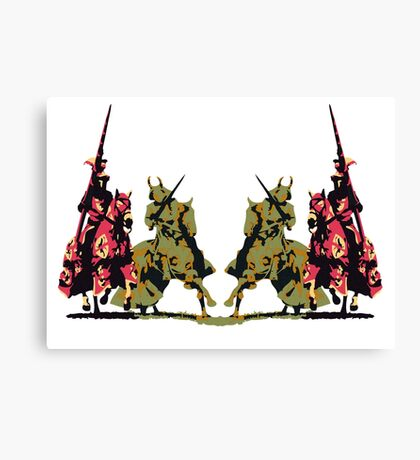 four noble knights on horseback with lance and sword Canvas Print