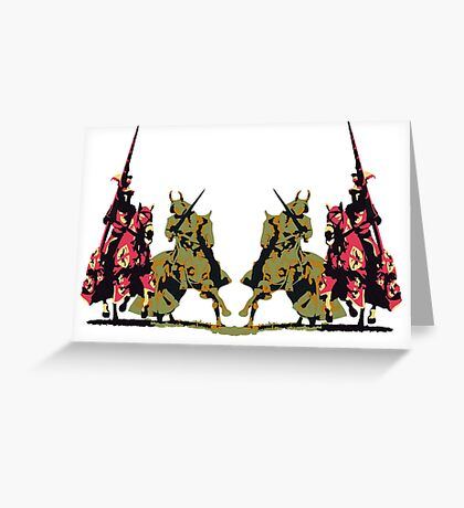four noble knights on horseback with lance and sword Greeting Card