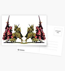 four noble knights on horseback with lance and sword Postcards