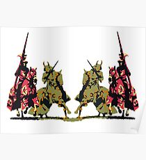 four noble knights on horseback with lance and sword Poster