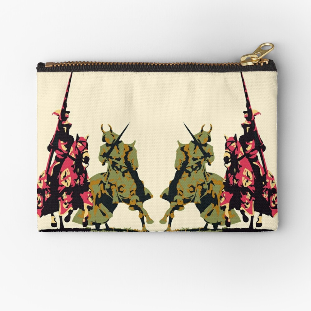 four noble knights on horseback with lance and sword Zipper Pouch