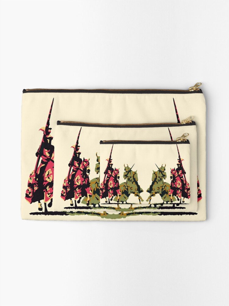 Alternate view of four noble knights on horseback with lance and sword Zipper Pouch