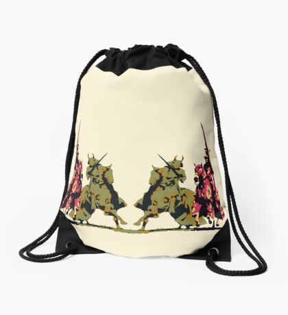 four noble knights on horseback with lance and sword Drawstring Bag