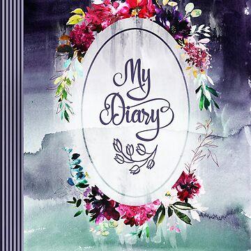 Diary. Boho, Bohemian Floral Watercolor Art Notebook by STYLESYNDIKAT
