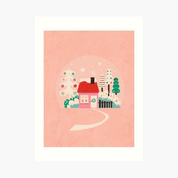 Festive Winter Hut in pink Art Print