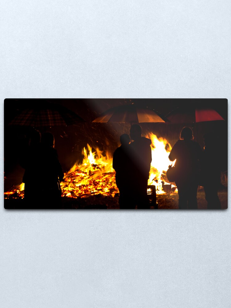 Alternate view of Brollies by the fire Metal Print
