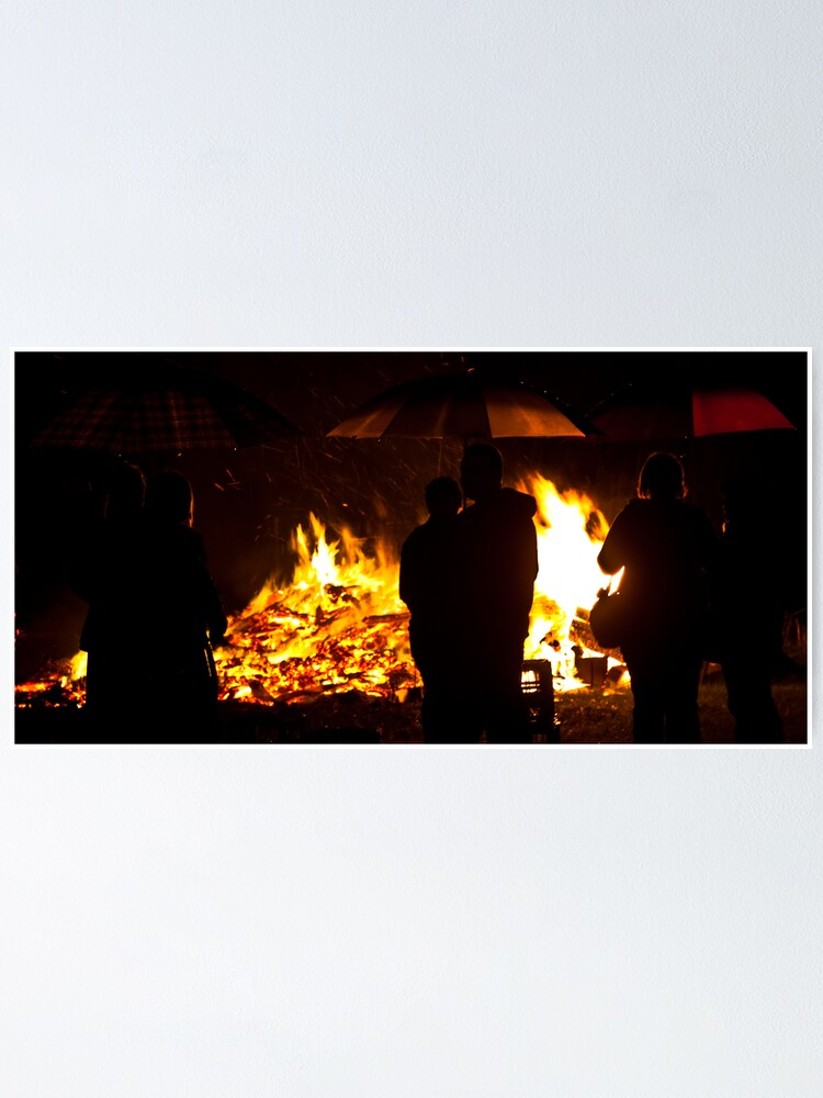 Alternate view of Brollies by the fire Poster