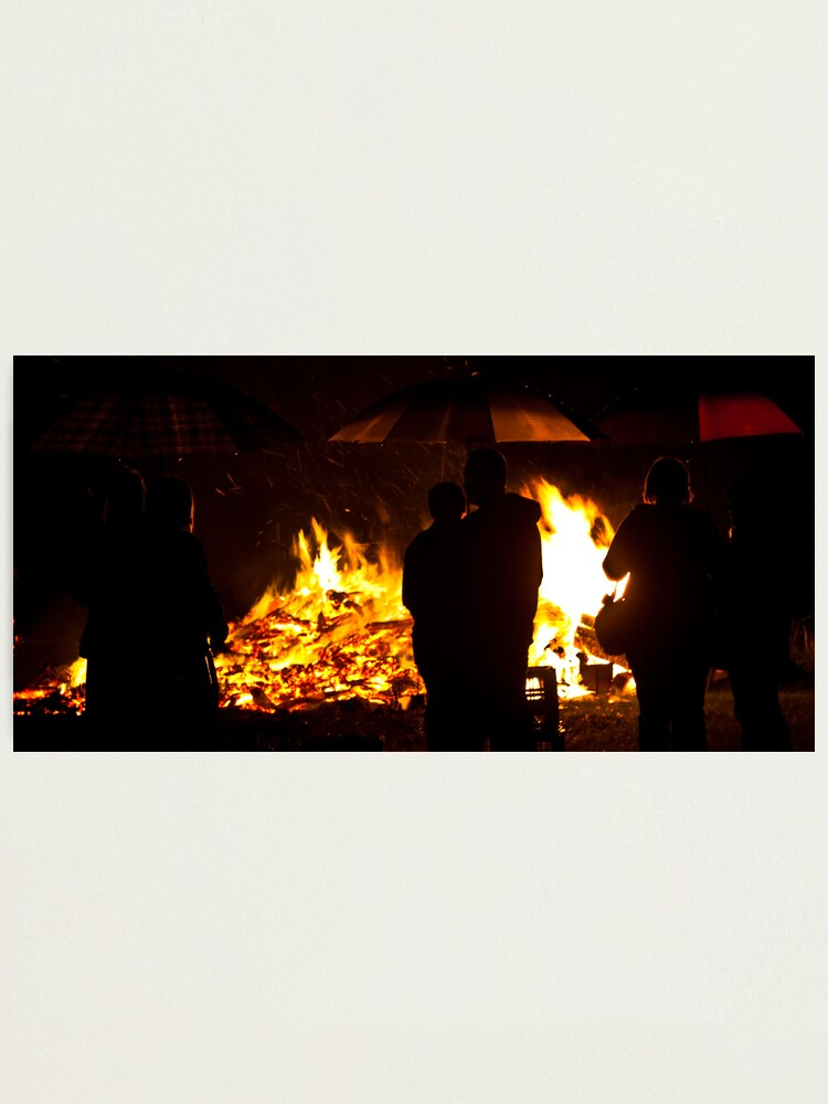 Alternate view of Brollies by the fire Photographic Print