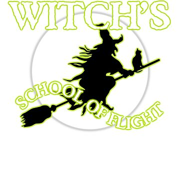 Witch's School of Flight, Night Rating for Pilots at Halloween T shirt by CliqueBank