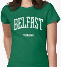 Belfast (White Print) Women's Fitted T-Shirt