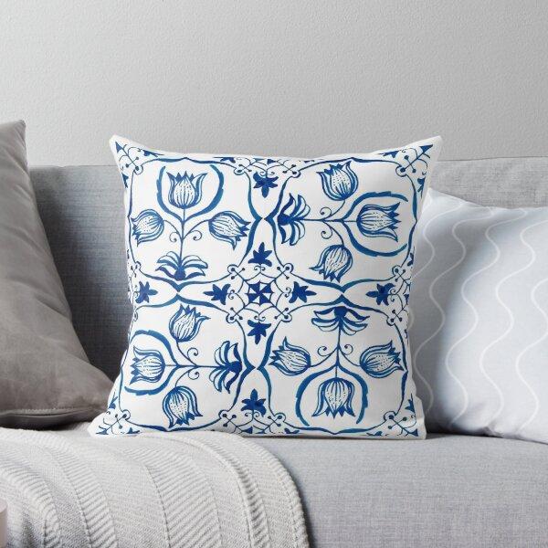 Delft Blue Tulips Throw Pillow