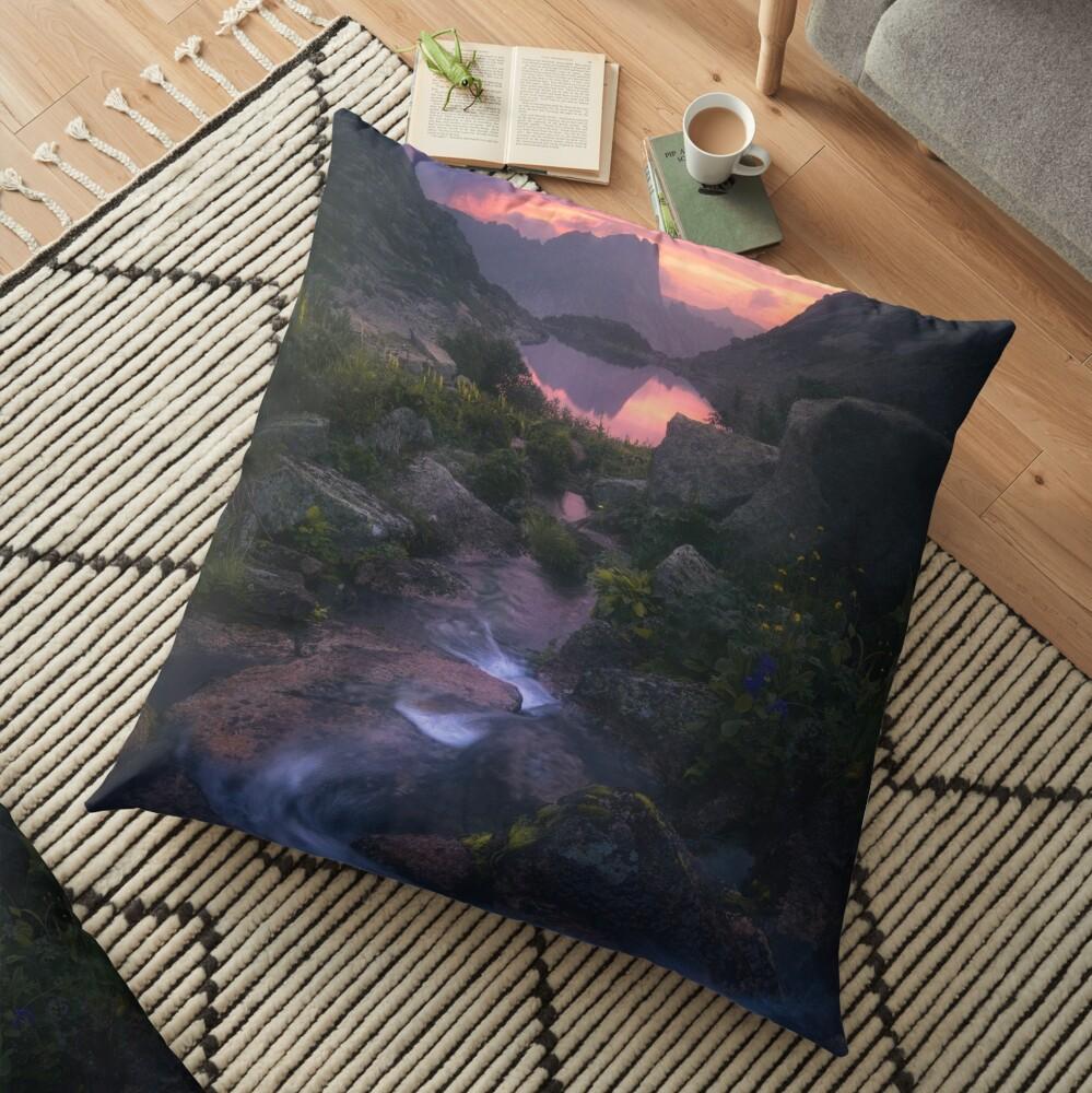 Stream of Mountain Spirits Floor Pillow