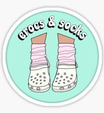 Weiße Crocs und Socken Sticker