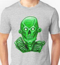 Zombie Skull Head Green Unisex T-Shirt