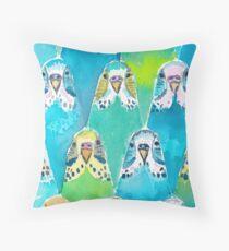 Watercolour Budgies Throw Pillow