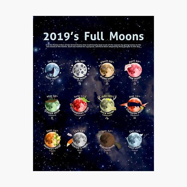 2019's Full Moons Photographic Print