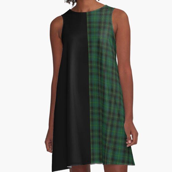 Tartan punk green and black A-Line Dress