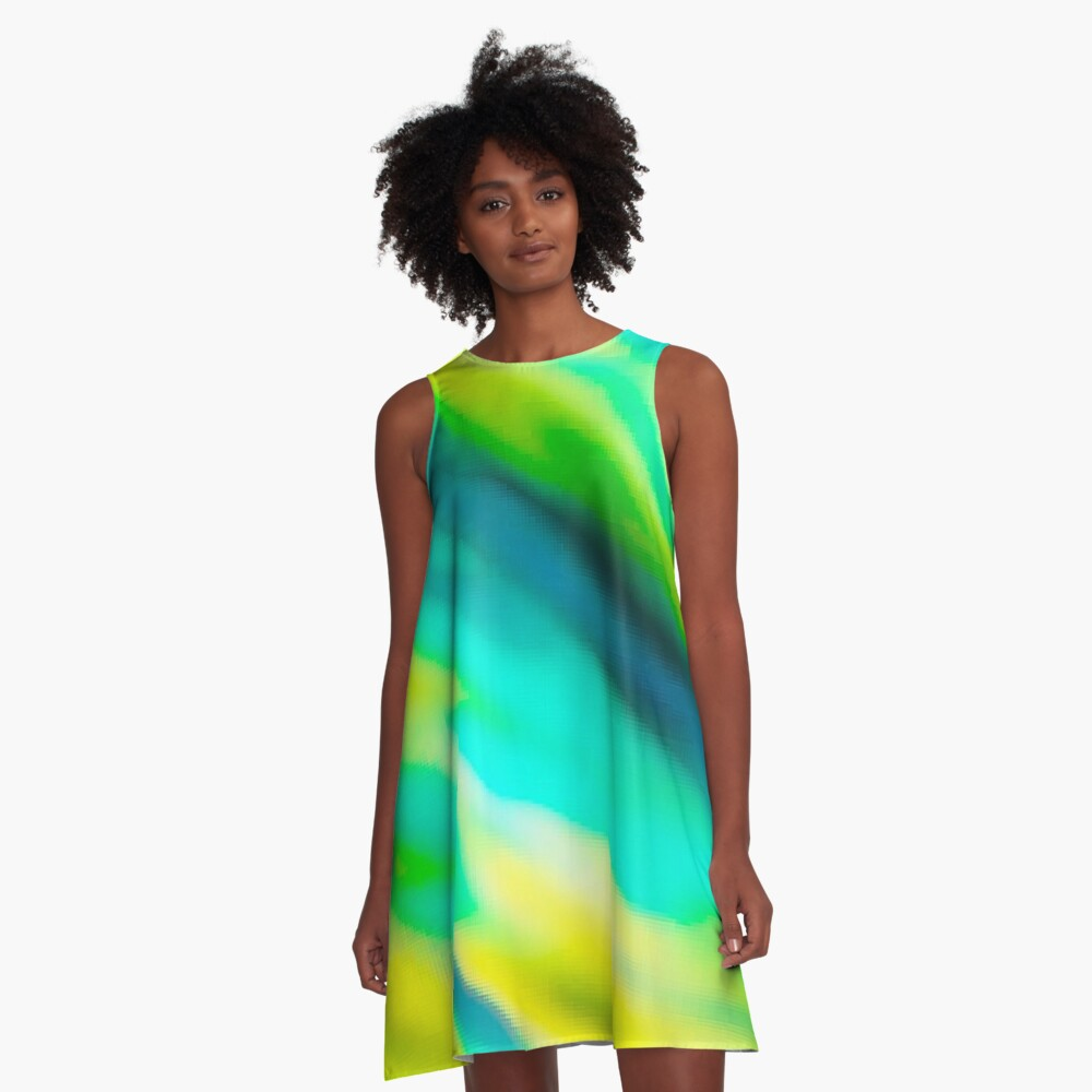 Pila Fashion Design - Green Wave A-Line Dress Front