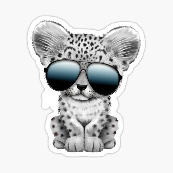 Cute Baby Snow leopard Wearing Sunglasses Sticker