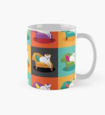 Flat Design White Chihuahua On Chaise In Pop Art Style Mug