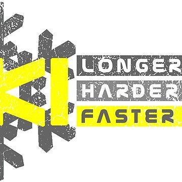 Ski Longer Harder Faster - Yellow 1 | Ski Designs | DopeyArt by DopeyArt