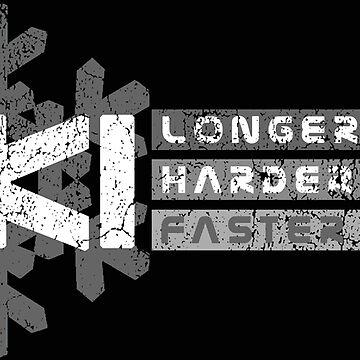 Ski Longer Harder Faster - Grey 1 | Ski Designs | DopeyArt by DopeyArt