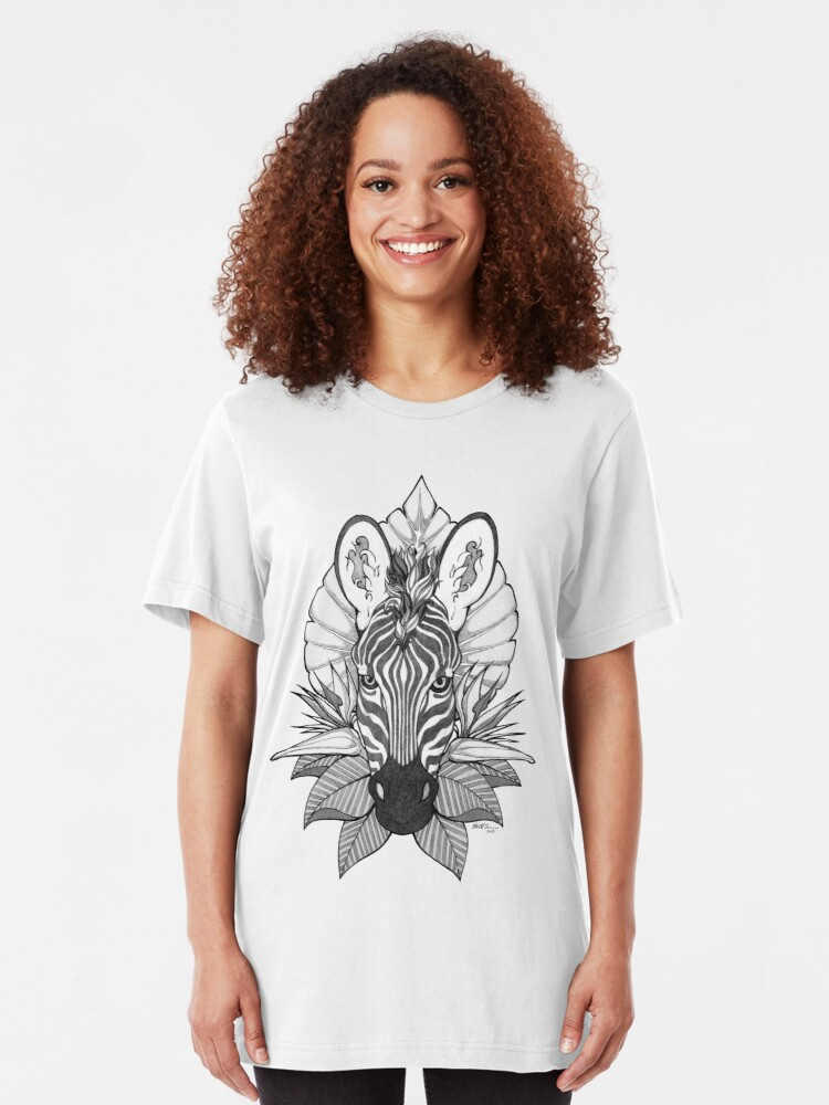 Alternate view of Zebra & Jungle Leaves Slim Fit T-Shirt