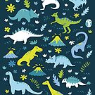 Kawaii Dinosaurs in Blue + Green by latheandquill