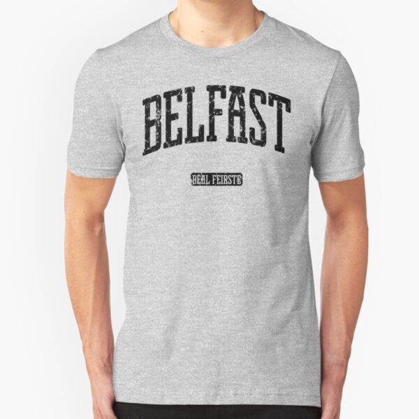 Belfast Northern Ireland (Black Print) Slim Fit T-Shirt