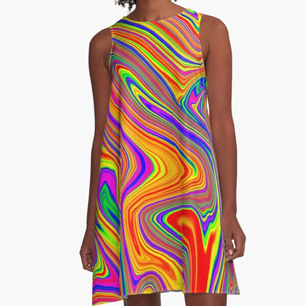 Groovy, Psychedelic Pattern (Rainbow, multicolored) A-Line Dress