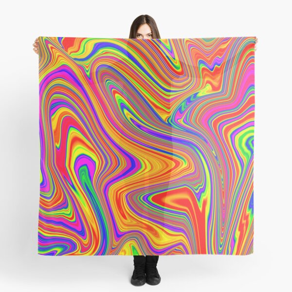 Groovy, Psychedelic Pattern (Rainbow, multicolored) Scarf