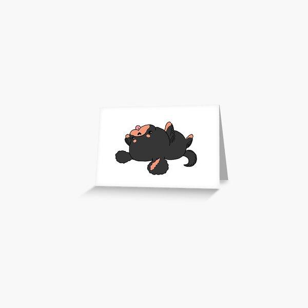 Kawaii Cavalier King Charles Spaniel - Black and Tan Greeting Card