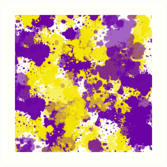 Yellow and purple splatter art prints by lindsey reese for Purple and yellow painting