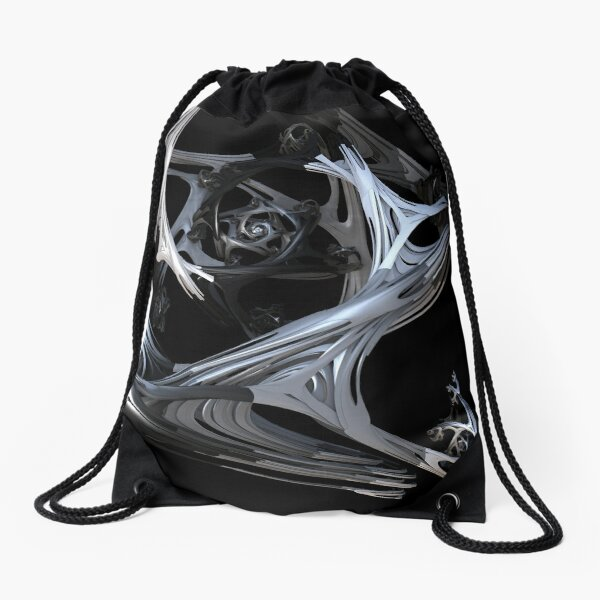 Black and White Love Portal Drawstring Bag