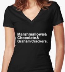 Marshmallows & Chocolate & Graham Crackers (white letters) Women's Fitted V-Neck T-Shirt