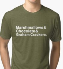 Marshmallows & Chocolate & Graham Crackers (white letters) Tri-blend T-Shirt