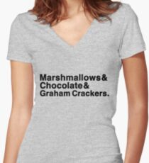 Marshmallows & Chocolate & Graham Crackers (light shirts) Women's Fitted V-Neck T-Shirt