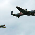 Lancaster with Hurricane escort by Wayne Gerard Trotman
