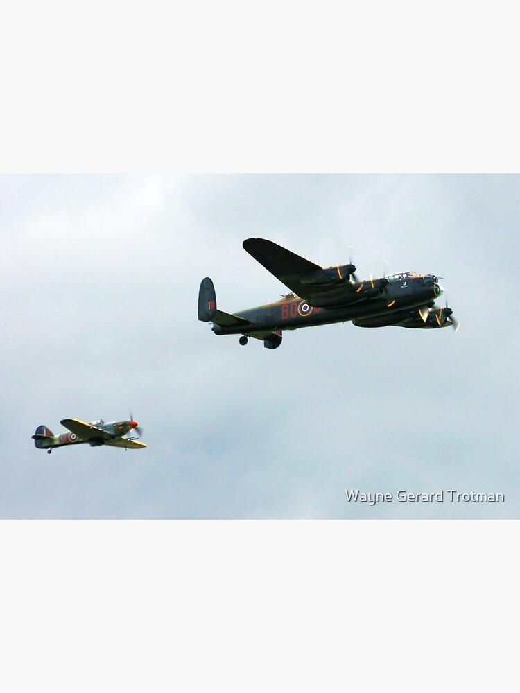 Lancaster with Hurricane escort by redmoondragon