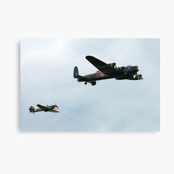 Lancaster with Hurricane escort Canvas Print